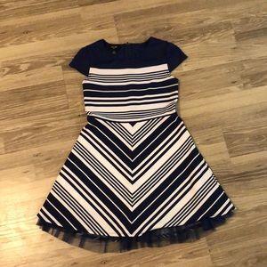 navy blue and white chevron dress